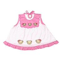 Baju Dress Bayi Perempuan Kaos Katun 3-6 Bulan Motif Six Cute Bear
