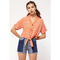 Colorbox Knotted Shirt I:Bswfjn121C018 Orange
