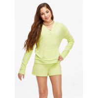 Justice Girls Snuggly Soft Lace Up Hoodie Vivid Green