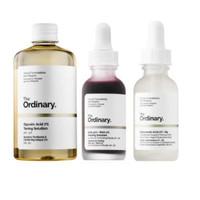 The Ordinary 3 Bottles Face Serum Set! Peeling Solution, Hyaluronic Ac