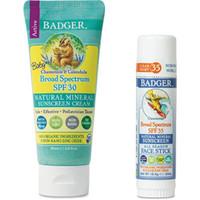 Badger - Baby SPF 30 Sunscreen Cream & Unscented SPF 35 Sport Sunscree