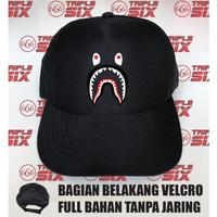 Topi Baseball pengait velcro BAPE Shark Print