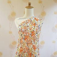 AL kain blouse bahan sifon fine motif bunga meteran F. 6019