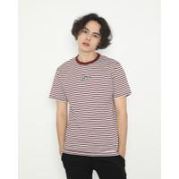 Kaos Pria Erigo T-Shirt Stripe Gazzy Cotton Combed Maroon