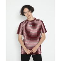 Kaos Pria Erigo T-Shirt Stripe Eleora Cotton Combed Maroon - S