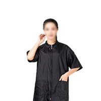 Mobestech Barber Smock Zip Up Work Clothes Short Sleeve Hair Stylist J