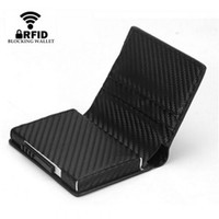 Carbon Fiber Leather Wallet with Anti RFID Pop Up Card Holde.-.ANJ0005