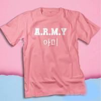 Kaos distro Tulisan Korea Army BTS Hangeul Korean Style / Baju kpop