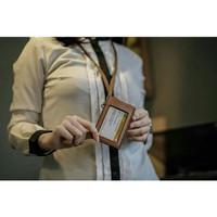 Name Tag Kulit Asli Id Card Holder Kulit Leather Badge Lanyard Custom