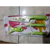 CUCI GUDANG Pisau Dapur Keramik Motif Bunga 4 in 1 Premium High