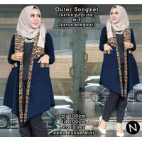 cn 59200 outer songket vest cardigan cardi katun batik etnik navy