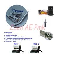 Paket Dish Antena Parabola Mini Receiver Skybox Ninmedia 2 TV Kamar
