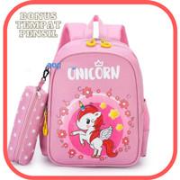 Tas ransel kuda pony BONUS TEMPAT PENSIL tas ransel anak perempuan - pink muda