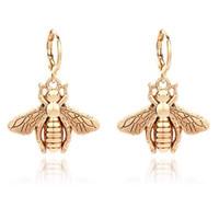 Harosy Bee Hoop Earrings Gold Animal Huggie Dangle Earring Insect Bumb