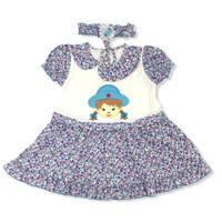 Baju Dress Bayi Perempuan Katun 6-12 Bulan Gadis Kepang Bonus Bando