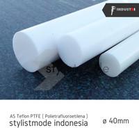 AS Teflon PTFE 40mm | (politetrafluoroetilena) potongan per 10 cm