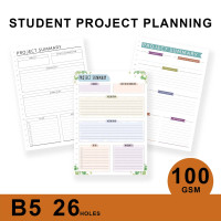 Loose Leaf Planner B5/STUDENT PROJECT PLANNING/Isi Kertas File/Refill