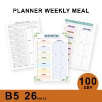 Loose Leaf Planner B5/WEEKLY MEAL PLAN/Isi Kertas File/Refill/Binder