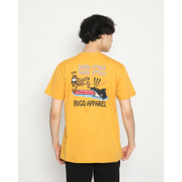 Kaos Pria Erigo T-Shirt Shark Attack Cotton Combed Mustard