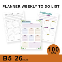 Loose Leaf Planner B5/WEEKLY TO DO LIST/Isi Kertas File/Refill/Binder