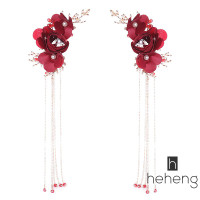 ❤HH-ID Exquisite Red Rose Flower Tiara and Tassel Earrings Chinese