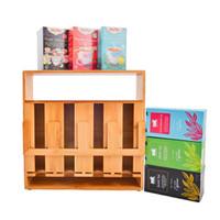 Refine Bamboo Tea Bag Organizer, 4 compartments 200 sachets high capac