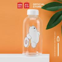 MINISO We Bare Bears Botol Minum Air Kaca Borosilikat Tinggi 600ml