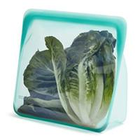 Stasher 00% Silicone Food Grade Reusable Storage Bag, Aqua (Stand-Up M