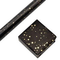 RUSPEPA Wrapping Paper Roll - Gold Foil Star Black Background Design f