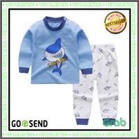 Setelan Baju Tidur Anak Bayi Piyama Bahan Katun Motif Baby Shark Cowo