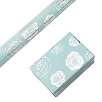RUSPEPA Wrapping Paper Roll - Silver Foil Rose Baby Blue Background De