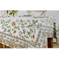 April Cornell Floral Tablecloth Iris/Multi Color on Ecru Cotton 60 x 8