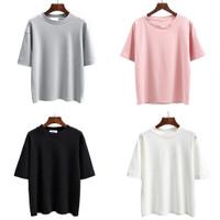 Pakaian T-shirt Wanita Murah Warna Hitam/Putih/Pink/Abu