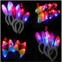 Foid Bando Desain Telinga Kelinci Bahan Plush dengan Lampu LED untuk