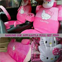 Sarung Jok Mobil AGYA AYLA Full Set Motif HELLO KITTY Pink