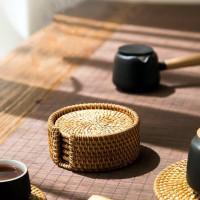 Rotan Coaster Lempeng Kain Bambu Panas Pad Straw Tempat Mat Table