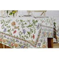 April Cornell Floral Tablecloth Iris/Multi Color on Ecru Cotton 70 Rou