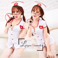 EK Set Baju Lingerie Sexy & Topi & G String Model Cosplay Perawat Seks