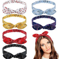 6 Pieces Headbands Boho Paisley Bow Bandana Knot Headwrap Retro Vintag