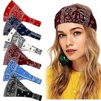 6 Pcs Bandana Headbands For Women Bohemia Vintage Paisley Bandana Flow
