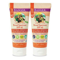 Badger - SPF 40 Kids Clear Sport Sunscreen Cream with Zinc Oxide for F