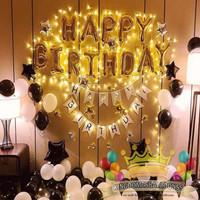 Balon Foil Dekorasi Ulang Tahun Black Gold White Simple   Happy