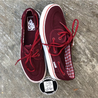 Sepatu Vans Zapato Port Royale Red Merah Maroon White Gingham Flanel - 36