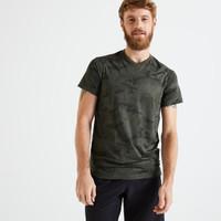 DOMYOS Slim-Fit T-Shirt - Printed Khaki/Black - 8606340