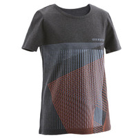 DOMYOS Boys' Gym T-Shirt 100 - Dark Grey/Print - 8660118