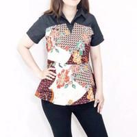 TERMURAH VJ 6 - Baju batik wanita cewe lengan pendek peplum untuk atas