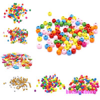 BSID 100x Multicolor Spacer Wood Beads Round Wooden Beads for Baby