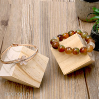 Unpainted Wooden Jewelry Bangle Wat Ring Display Holder Stand