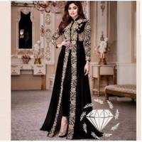 Baju Gamis Pesta Hitam Umroh India Fashion Muslim Arab Jumbo Bludru
