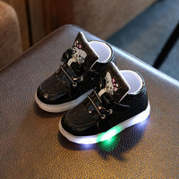 ??SF?? Fashion Anak: Sepatu Boots Hello Kitty LED Anak Perempuan